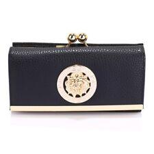Ladies Women's Kiss Lock Long Clutch DESIGNER Patent Purse Wallet Coin Bag Black Kisslock