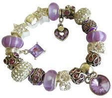Silver Plated Amethyst Charm Bracelets