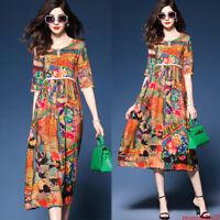 Vintage Women Silk Boho Ethnic Floral Beach Maxi T-Shirt Party Shift Dress M-3XL