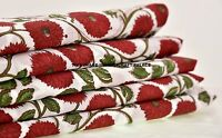 5 Yard Indian hand block Print Fabric Red Floral Cotton Garment Dress Fabric art