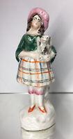 Rare Antique 19th C. Staffordshire Scottish Girl Dog Porcelain Pottery Figurine
