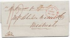 # 1843 MANCHESTER LETTER PREPAID 1/2d T WORTHINGTON TO ROBERTSON MASSON MONTREAL