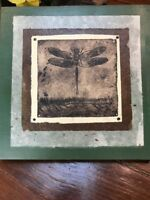 """Signed & Numbered Etching Art Mounted DRAGONFLY 2012 12""""X12"""""""