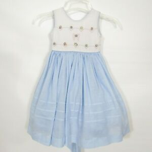 Will Beth Girls Dress Size 2T Blue Embroidered Floral White Pink Sleeveless