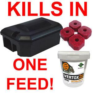 RAT POISON & PROFESSIONAL Rodent Box Station Bait Blocks Killer SINGLE FEED x 1