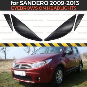 Eyelids Eyebrows on headlights for Dacia / Renault Sandero 2009-2013 ABS plastic
