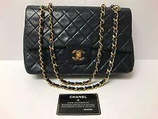 Vintage CHANEL CC Matelasse Double Flap Chain Shoulder Bag Leather Navy Blue