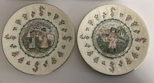 Royal Doulton Kate Greenaway Almanack Plates Lot Of 2 Aries And Pisces 1977