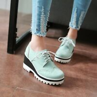 WOmen's Leather  Low Chunky Heels Round toe Brogue Lace Up oxfords Casual Shoes