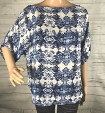 Belissimo Blouse Medium Cobalt Blue White China Floral Print Short Sleeve Top