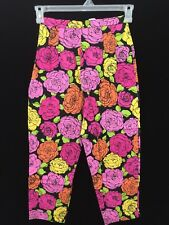 BRIGGS capris pant size 6 pink yellow flowers black cotton spandex 25 x 21 roses