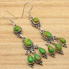 BESTSELLER Earrings !! 925 Silver Plated GREEN COPPER TURQUOISE Fashion Jewelry