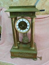 More details for  antique french portico clock brass