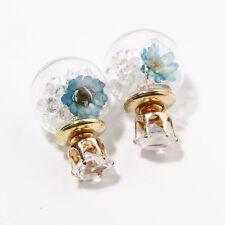 Blue real flower crystal ball stud earrings