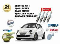 FOR FIAT 500 1.2 2007-> PLUGS SET + 3 FILTER SERVICE OIL AIR POLLEN FILTER KIT