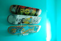 Skateboard Rack in Clear Acrylic. Holds up to 3 boards. Wall Mounted.