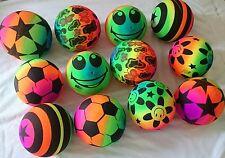 12 pcs Rainbow Sport 8 inches Bouncing Ball Neon Color Rubber Inflatable FUN Toy