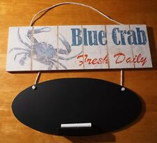 BLUE CRAB FRESH DAILY CHALKBOARD SIGN Beach Seafood Restaurant Kitchen Decor NEW