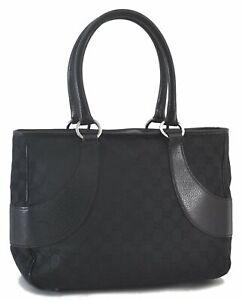 Authentic GUCCI Shoulder Tote Bag GG Canvas Leather Black C4480