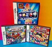 Midnight Play, Wonder World Park, Carnival Games Nintendo DS Lite 2ds 3ds Games