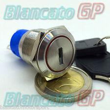 SELETTORE DEVIATORE A CHIAVE 19mm IN METALLO ACCIAIO INOX commutatore antifurto