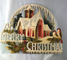 Antique DRESDEN Germany MERRY CHRISTMAS Cut-out Pressed Paper Glitter Stand Rare