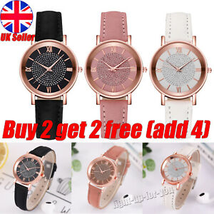 Ladies Wrist Watches Leather Strap Watch Quartz Analogue Womens Steel Casual UK