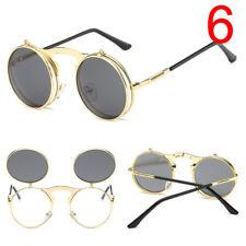 Fashion Retro Vintage Gothic Round Flip Up Sunglasses Steampunk Glasses  OZ