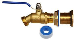 RAINPAL RBS024 Rain Barrel LF Brass Ball Vavle Spigot Kit w/Bulkead Fitting,Tape