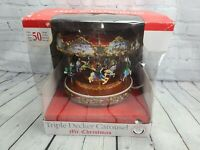 Mr. Christmas Triple Decker Carousel Animation and Lights Plays 50 Songs