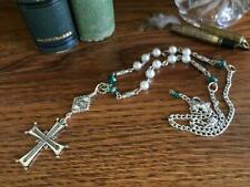 Silver Cross Car Charm Tibetan Silver Cross Spacer White Beads Green Swarovski