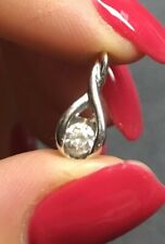 14k white gold diamond pendant preowned