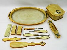 12 Vtg Vanity Pieces Dresser Set Tray Box Shoe Horn Nail Manicure Tool Celluloid