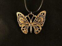 Schmetterling Anhänger 24 Karat Gold Lederkette Butterfly Schmuck Damen
