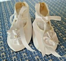"""Vintage Ecru French Style Doll Shoes 3 1/2"""" X 1 1/2"""" Tie with Trim on Toe"""