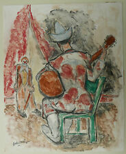 Peinture Monotype Huile Clown de Dos Guitare Musicien PIERRE ABADIE LANDEL 1971