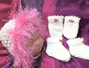 newborn bonnet mitten boots set 4 baby / reborn / candy pink fluffy / roses