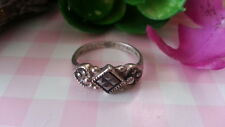 Beautiful Rhombus Marcasite Solid Band Ring 925 Sterling Silver *Size 7 *B994