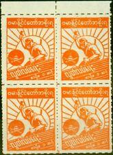 More details for burmese govt 1943 1c orange sgj85b perf x roulette fine mnh block of 4 scarce
