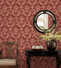 "12""/31cm Wallpaper SAMPLE Victorian Damask in Tan on Red"