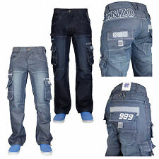 "Mens Enzo EZ295 Branded Cargo Combat Denim Jeans 28"" to 48"" Waist Designer Pants"