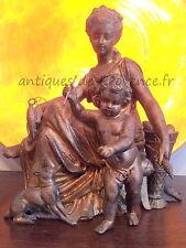 Superbe ancien statue régule doré décor femme Putti Ange Chérubin 1900 chien