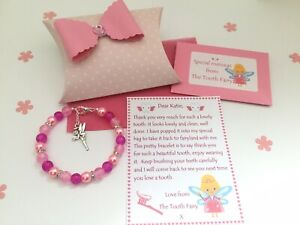 Personalised Tooth Fairy Letter, Bracelet, Gift Box, Tooth Fairy Gift, Pink