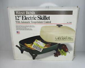 "Vintage West Bend Completely Immersible 12"" Electric Skillet Green  #72017"