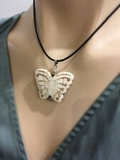 White Butterfly Pendant on Leather Necklace Beautiful Gift