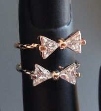 Womans Girls Adjustable CZ Bow Stacking Above Knuckle Band Midi Ring Toe Ring