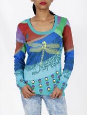 BNWT Desigual Stretch Multis SUPER Top SHIRT Butterfly Design S / M / XL Sweat