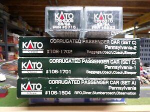 N Scale 12 Car Pennsylvania Corrugated Passenger Cars & 2 E8/9 Locos