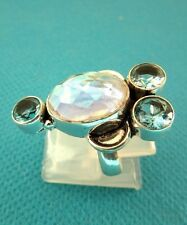 925 Sterling Silver Ring With Aqua Mystic & Blue Topaz UK K 1/2 US 5.50 (rg2707)