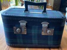 Vintage Blue Green Tartan Train Case Makeup Case